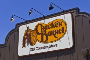 A sign for Cracker Barrel, a popular restaurant chain.
