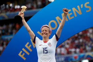 A photo of Megan Rapinoe, co-captain of the U.S. women's national soccer team, after winning the 2019 FIFA Women's World Cup France Final on July 7, 2019 in Lyon, France.